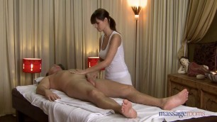 Passionate Rita uses her big boobs to massage him