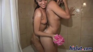 Two lovely Seductive babes wash each other bodies