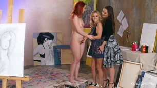 Dani Daniels Crystal Clark Karla Kush Seductive lesbian threesome pale redhead blonde brunette tribbing rimjob 69