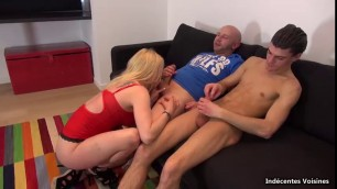 Busty blonde nicky enjoys getting sandwiched in threesome