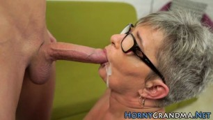 Old granny kagney face jizzed after sucking and riding cock