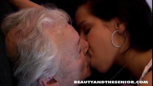 Perky Latina student Limber offering aged guy a Christmas blowjob