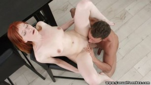 redhead babe gets her man to fill her cunt full of cream