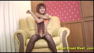 Youthful Nude Asian slut choking on cock before creampied