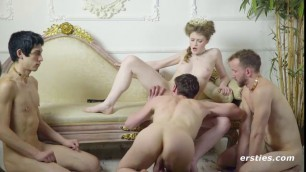 Beautiful queen Angella gets dreams fulfilled by horny subjects