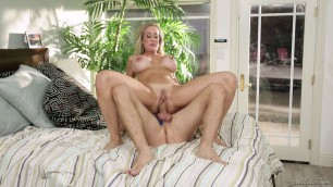 Experienced Blonde Woman Brandi Love Thong Stuffing