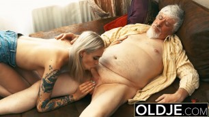 Old and Young Teen Blonde Fucked by Old man Sweet pussy cock