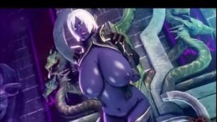 Big Ass dark elf gets fuck by all monster