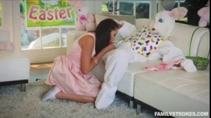 sex with a sexy teen getting fucked by her uncle dressed up as an Easter bunny behind her par