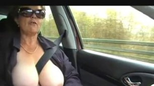 Granny nude outdoor demonstrates his big hanging breasts