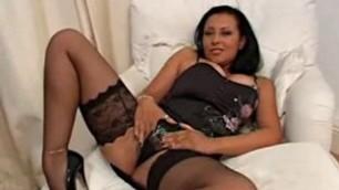 Danica Collins in sexy black lingerie fucks herself dildo