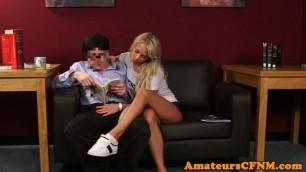 Pretty Blonde CFNM amateur gives sensual blowjob
