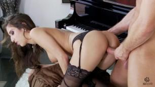 April Oneil masturbating and fucking brunette pov blowjob