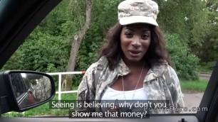 Dazzling Ebony army babe fucks stranger for money