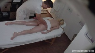 Czech blonde sit on the dick masseur on the couch 273