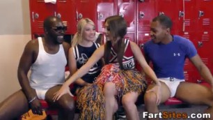 Teen cheerleaders fuck black shlongs for jizzy mouths in public