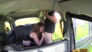 Big Tits babe Princess Paris with ginger bush fucks a taxi driver