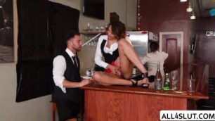 Busty Eve gets banged and fucks hard by Seth in resto bar
