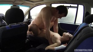 Raunchy czech bitch fucks in different poses in the car 29