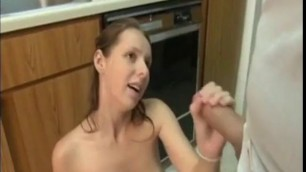 brother and sister Zoe Vos blowjob in the kitchen
