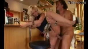 Busty Blonde Vivian Schmitt fucks with a guy at the bar