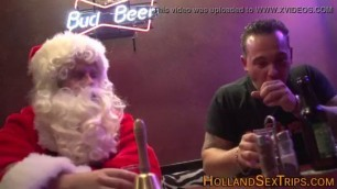 Blonde whore paid to fuck With Santa Claus in the doggy style pose