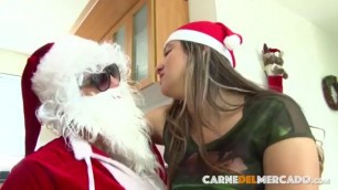 Delightful Latina babe gets banged hard by Santa on Christmas
