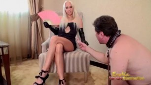 Hot xmas Blonde Slave Begs Master And Helper To Discipline Him