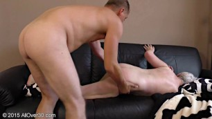 Winnie Anderson Blonde Milf with a mature body fucks with a man on the couch