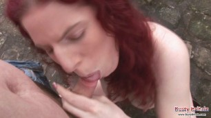 Busty Redhead Britain Summer Jay sucks cock Outdoor