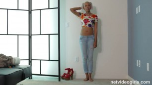 Blonde Alina nice black girl on porn casting