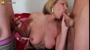 Mature Slut Takes On Two Cocks Cum In Throat