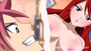 Fairy Tail XXX Natsu and Erza Lucy redhead blonde blowjob
