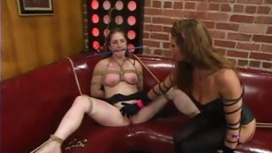 Gagged babe was tied up with her sex pleasure legs spread wide and got stimulated with sex toys