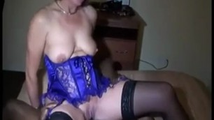 blue corset wife is fucking a black guy
