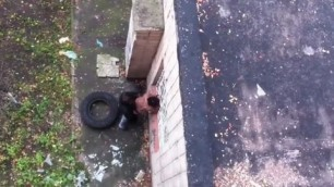 Dirty prostitute caught fucking outdoors voyeur