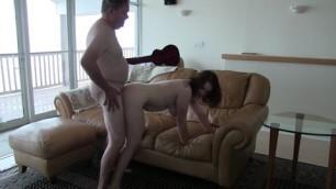 Teen Slut Amy Fucks Grandpa On The Couch