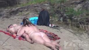 Fatty wife at public nude beach sucking cock
