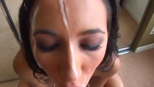 Young gets load of huge cumshots on her face