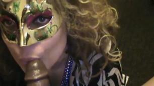 Venetian masked wife wife sucking a bbc