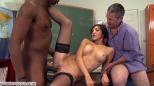 The husband looks at his wife fucks black teacher