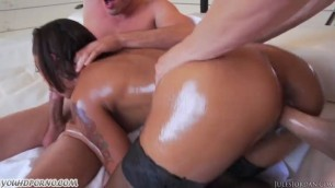 Skinny Ebony double penetration assfucked and facialized