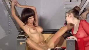 Chick tied up and bound to fucking pussy machine