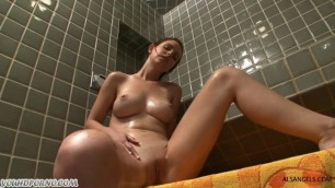 Brother spying on his older sister pussy in the shower