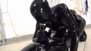 Double babes janet in latex catsuit fucks mutually