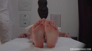 Czech Blonde massaged the body with oil E215