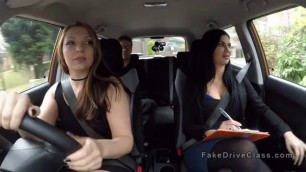 Hot Threesome sex in fake driving school car