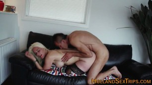 Big ass real dutch hooker Bends her on the couch and fucks