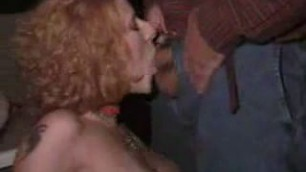 Busty redhead public blowjob After which she is sprinkled with sperm on her breast