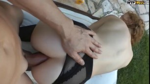 Russian cutie Alisa gets public buggered in torn pantyhose